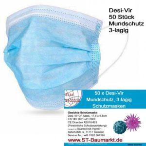 Mund-Nasen-Schutz Masken, 3-lagig, Größe 17.5 x 9.5cm - zertifizierte PSA